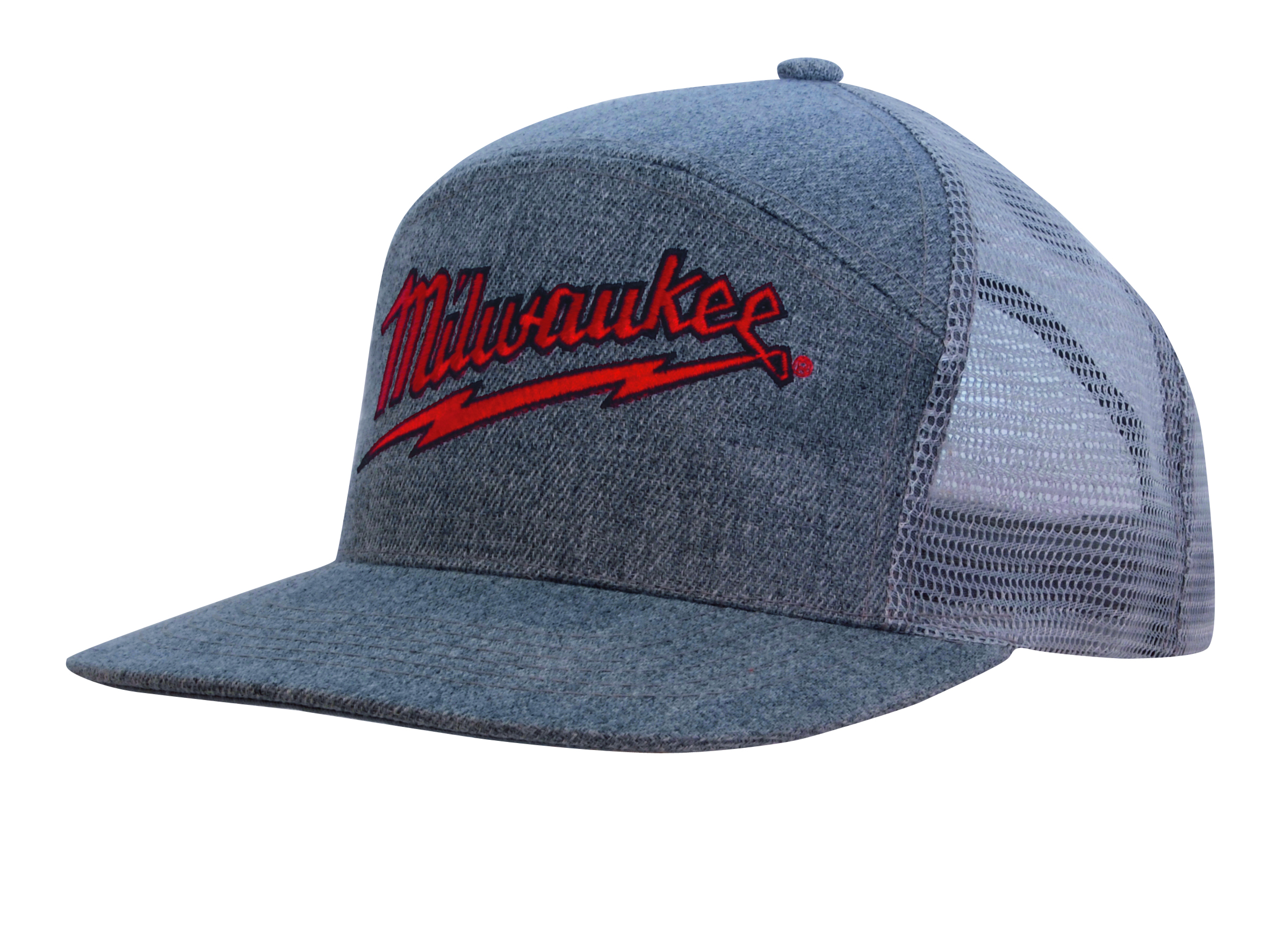 Grey Marle Flannel Cap with Mesh Back